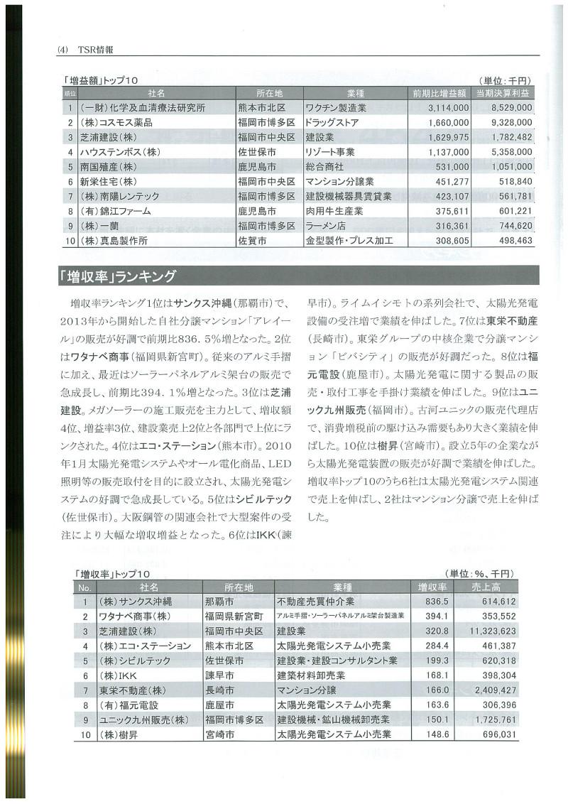 日本でも有数の企業情報誌「TSR情報」(東京商工リサーチ)の九州管内ランキングに、弊社が登場いたしました!